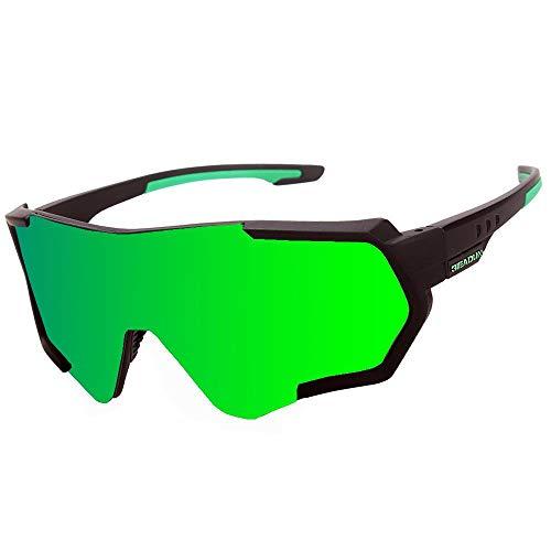 HTTOAR Gafas De Sol Deportivas,Polarizadas para Ciclismo Gafas,MTB Bicicleta Montaña Gafas, Ski Conducción Golf Salir A Correr Ciclismo Acampada Gafas (Black Green)