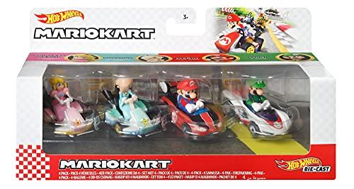 Hot Wheels Mario Kart Set de colección con 4 Coches de Juguete Die-Cast con Personaje, Regalo para niños +3 años, Modelo 3 (Mattel GXX97)