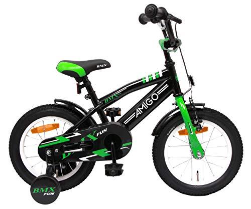 Amigo BMX Fun - Bicicleta Infantil de 14 Pulgadas - para niños de 3 a 4 años - con V-Brake, Freno de Retroceso, Timbre y ruedines - Negro/Verde