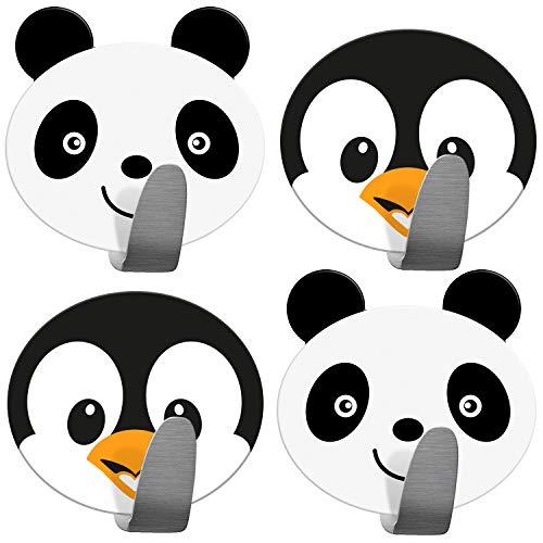 Tatkraft Friends Paquete con 4 Ganchos Autoadhesivos para Toallas y Abrigos, Colgador Infantil para Pared, Hecho de Acero Inoxidable, Fácil de Instalar