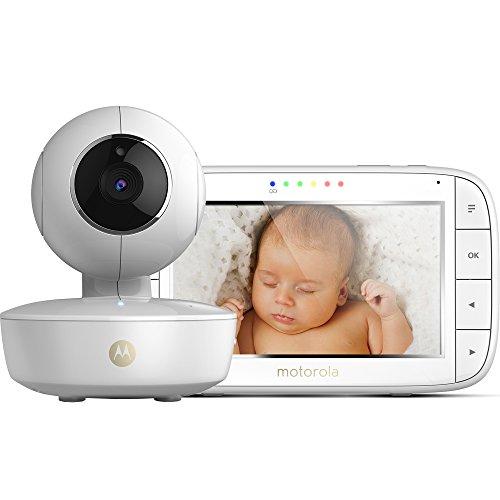 Motorola Baby MBP 50 - Vigilabebés vídeo con pantalla LCD a color de 5.0', modo eco y visión nocturna, color blanco