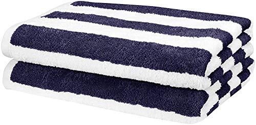 Amazon Basics - Toalla de playa, de rayas Cabana, color azul marino, pack de 2