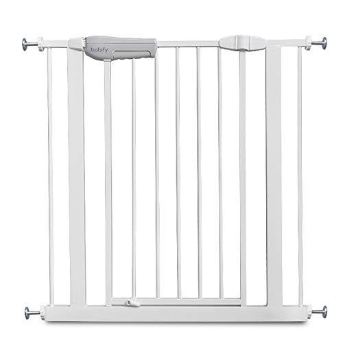 Babify - Barrera de Seguridad de niños para puertas y pasillos - Color blanco - Máxima Polivalencia de 65 a 95 cm - Incluye 2 Extensiones de 10 cm - Incluye Kit para Barandilla