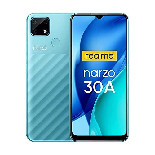 Realme Narzo 30A Smartphone Libre Mega Batería 6000mAh Carga Rápida 6.5' Pantalla HD+ 4GB + 64GB (SD 256GB) Cámara AI 13MP Teléfonos Móviles 4G Dual SIM Android 10 Face ID (Verde)