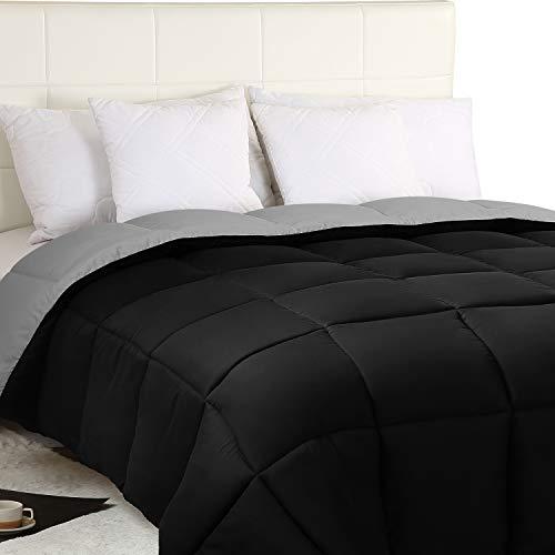 Utopia Bedding Edredón Nórdico - Edredón 350 gr/m²- (230 x 260cm) - Edredón Reversible Cama 180 (Bicolor) - Gris y Negro