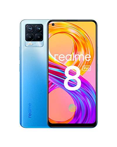realme 8 Pro Smartphone Libre, Cámara cuádruple Ultra de 108 MP, Pantalla completa AMOLED superior de 6,4', Carga SuperDart de 50W, Batería de 4500 mAh, Dual Sim, 8+128GB, Azul (Infinite Blue)