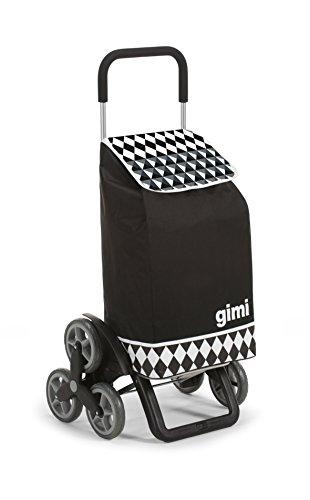 Gimi Tris Floral - Carro de la compra, con 6 ruedas, bolsa impermeable de poliéster, capacidad de 56 litros, negro, 41 x 51 x 102 cm