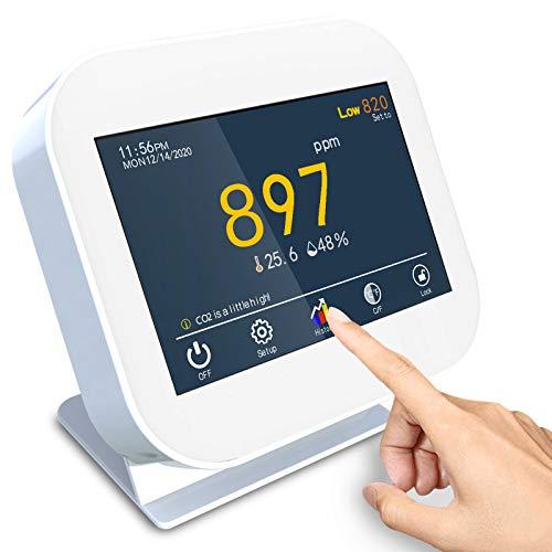 Medidor de CO2, Sensor de CO2, Detector de dióxido de Carbono para Temperatura y Humedad Relativa, Monitor de Calidad del Aire, Sensor de conducto NDIR, Registrador de Datos, Rango 0 ~ 9999 ppm