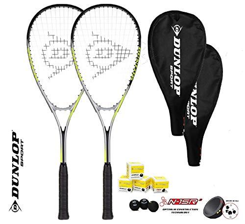 DUNLOP Juego de 2 raquetas Ti Squash Series (2 raquetas + 3 bolas) varias opciones (Hyper Lite Ti 4.0)