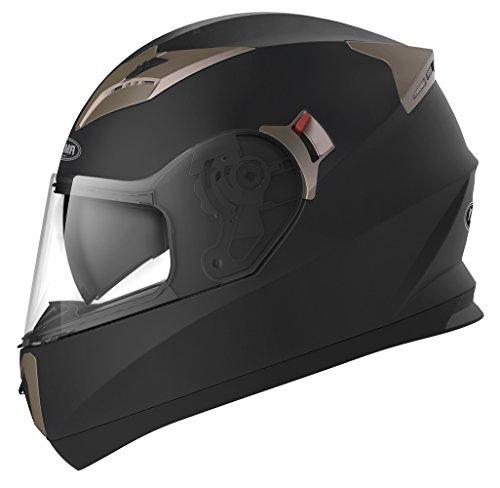 Casco Moto Integral ECE Homologado - YEMA YM-829 Casco de Moto Scooter para Mujer Hombre Adultos con Doble Visera -Negro Mate- XL