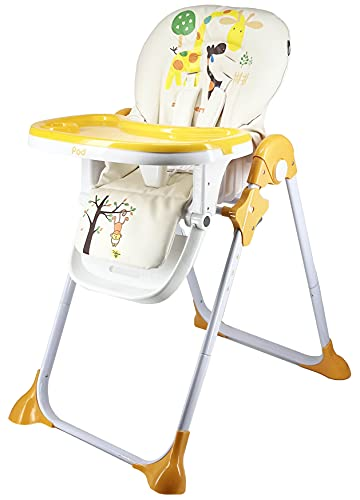 Star Ibaby Pod Giraffe - Trona para Bebes Reclinable, Altura Regulable en 6 Posiciones, Doble Bandeja Extraible, Blanco/Naranja