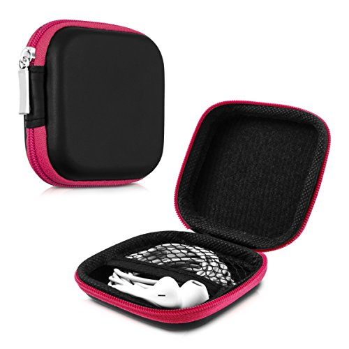 kwmobile Funda Protectora rígida Compatible con Auriculares In-Ear - Estuche Protector Duro para audífonos en Rosa Fucsia