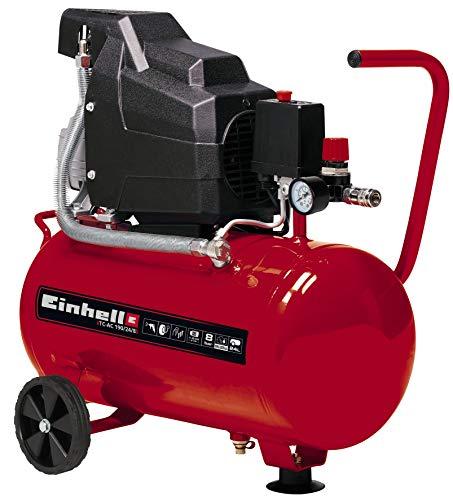 Einhell Compresor TC-AC 190/24/8 (máx. 8 bar, depósito de 24 l, lubricación por aceite, reductor de presión, manómetro + acoplamiento rápido, válvula antirretorno, soporte con tope de goma)