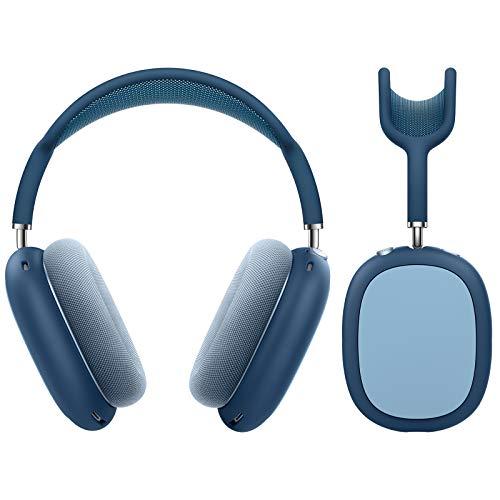 MoKo Funda Protectora Compatible con AirPods MAX, [2 PZS] Bolsa de Almacenamiento de Silicona para Auriculares, Estuche Rígido Absorción de Golpes para Transportar Headphone, Índigo & Azul Cielo