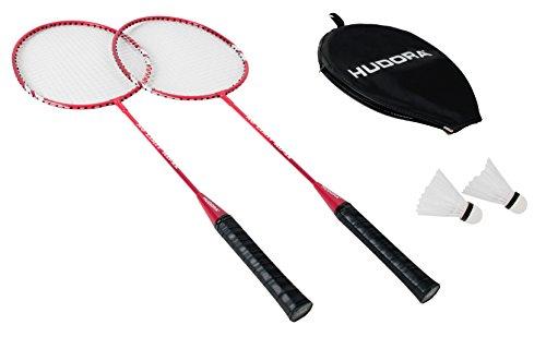Detalles del juego de raquetas, red y volantes de bádminton Hudora