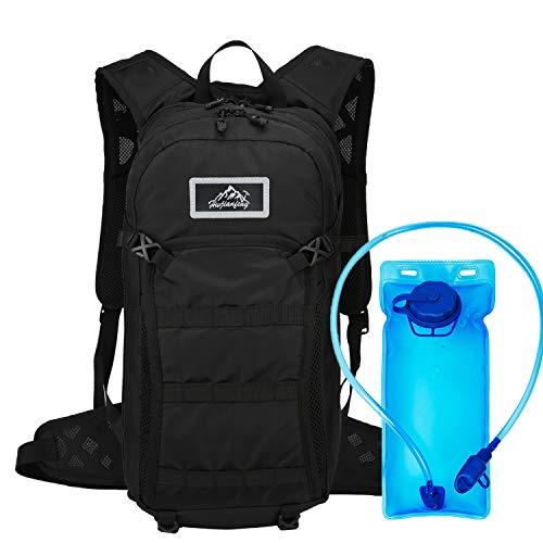 Mochila de hidratación de 15L, vejiga de Agua sin BPA de 2L, Mochila de Ciclismo Mochila de Montar Mochila de Bicicleta Transpirable Ligero para Viajar Montañismo(Negro)