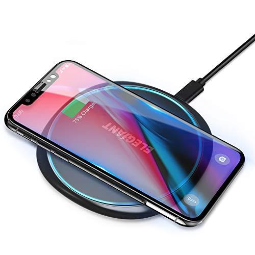 ELEGIANT 15W Cargador Inalámbrico Rápido Qi, 7.5W Compatible con iPhone12/11/SE 2/XS/XR/X/8, 10W para Samsung Galaxy S21/S20/S10/S9/S8/Note20, Huawei Mate 30/Mate 40, Xiaomi 10/11, 5W para AirPodsPro