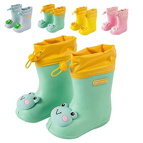 Botas de Agua Unisex Niños Niñas Luces Wellington Botas de Lluvia Impermeable y Antideslizante Rain boots 107 verde EU 26/27 (Tamaño de la etiqueta 170)