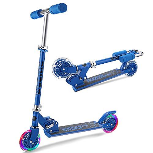 WeSkate Patinete 2 Led Ruedas para 3 a 12 Años Patinete Ajustable, Diseño Plegable, Manillar Ajustable, Carga Máxima de 110lbs
