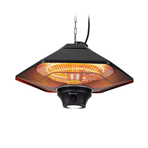 blumfeldt Heat Hexa - Calefactor infrarrojo para Exterior, Potencia 2000 W, 3 Niveles, hasta 40 m², Protección IP34, Sin precalentamient, Luz LED, Pantalla táctil, Mando a Distancia, Aluminio, Negro