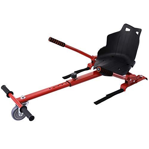 CO-Z Silla de Hoverboard Compatible para Adultos o Niños Hoverkart para Patiente Eléctrico de 6,5/8/10 Pulgadas Asiento de Hoverboard Ajustable para Diversión (Rojo)