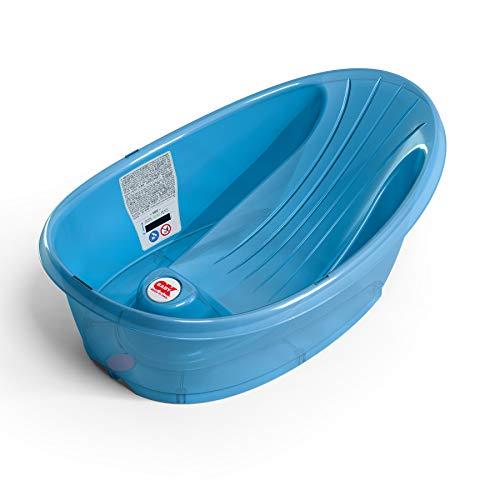 OKBABY Bañera Onda Baby - Base antideslizante, con termómetro digital de cristal líquido incorporado - Soporte trasero en ángulo - Se adapta al inerior de la bañera o la ducha - Azul Transparente