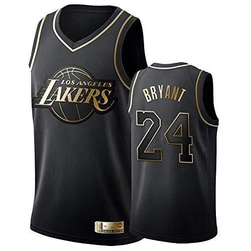 Camiseta de Baloncesto para Hombre, Los Angeles Lakers #24 Kobe Bryant. Bordado Swingman Transpirable y Resistente al Desgaste Camiseta para Fan (Black-2, M)