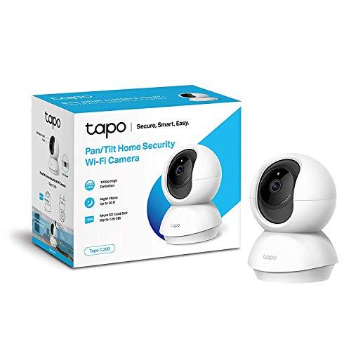 TP-Link - Cámara IP WiFi 360º, Cámara de Vigilancia FHD 1080p, Visión nocturna, Admite tarjeta SD, Audio Doble Vía, Detección de movimiento, Control Remoto, Fácil Configuración, Compatible con Alexa