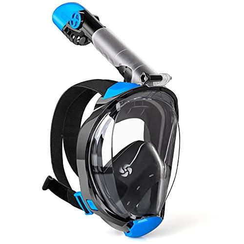 WEWILL Máscara de Buceo,Máscara de Snorkel con Vista Panorámica de 180 ° Diseño de Cara Completa y Compatible con Cámaras Deportivas, Diseño Plegable para Adultos y Niños(X/XL)