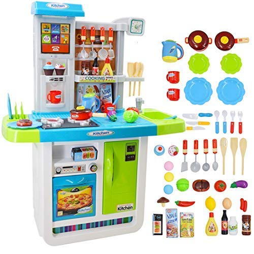 deAO Cocinita 'Mi Pequeño Chef' con Características de Sonidos, Panel Táctil y Agua - Más de 40 Accesorios Incluidos (Azul) , color/modelo surtido