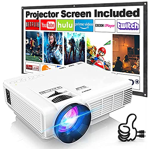 Proyector HI-04 con Pantalla de Proyección, Proyector Video 7000 Lúmenes Soporta 1080P Full HD, Mini Proyector Compatible con TV Stick HDMI VGA USB TF AV, para Cine en Casa y Películas al Aire Libre.