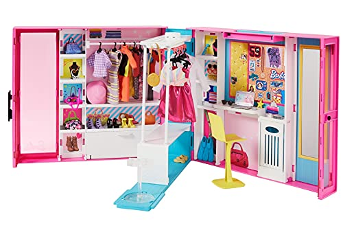 Barbie - Armario de ropa muñeca con 25 accesorios de moda (Mattel GPM43)