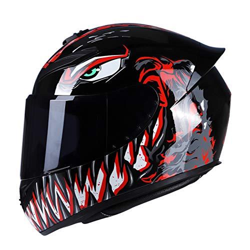 GoolRC Casco de Moto Rading Moda de Cara Completa Ligero para Carreras de Motos, Talla M