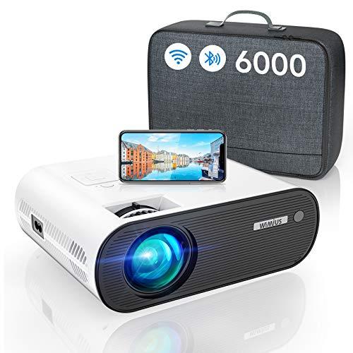 Proyector WiFi Bluetooth, 6000 Lúmenes WiMiUS Proyector Portátil WiFi Bluetooth Full HD Soporte 1080P Mini Proyector WiFi Proyector LED Cine En Casa Función Zoom para Smartphone HDMI USB AV