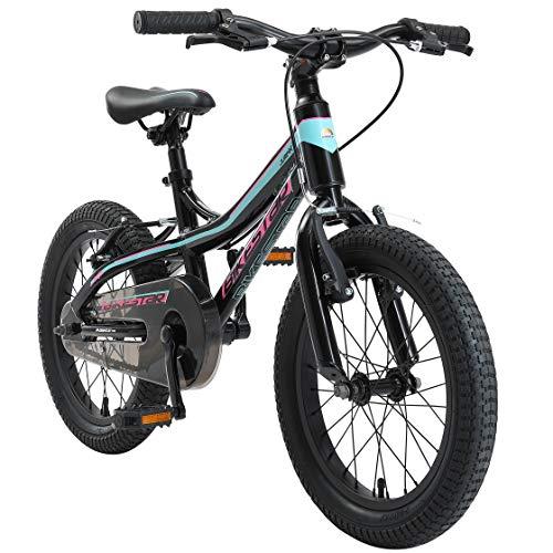 BIKESTAR Bicicleta Infantil Aluminio para niños y niñas a Partir de 4 años | Bici 16 Pulgadas con Freno en V | 16' Bici de montaña | Negro Azul