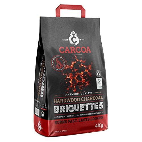 Briquetas de Carbón Vegetal Carcoa 4 Kg. FSC® 100 %. Especial para barbacoa. Rápido encendido y larga duración. Calidad premium.