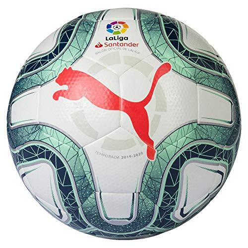 Puma Laliga 1 Hybrid Balón de Fútbol, Unisex Adulto, Gris White-Green Glimmer-Nrgy Red, 5