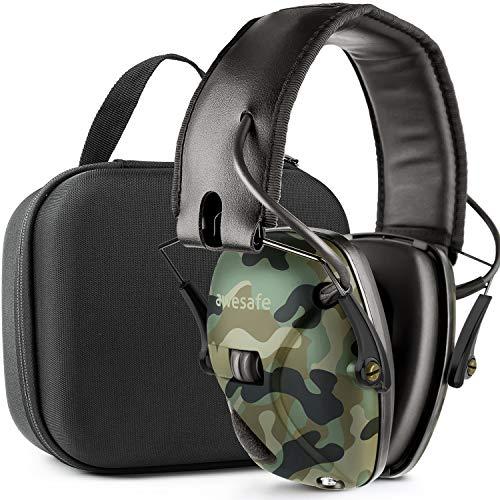 Awesafe Casco Tiro Electronico Protector Auditivo Auriculares de Caza Protectores para Oídos Especialmente Diseñados para Cazadores y Tiradores +Estuche Rígido Funda de almacenamiento