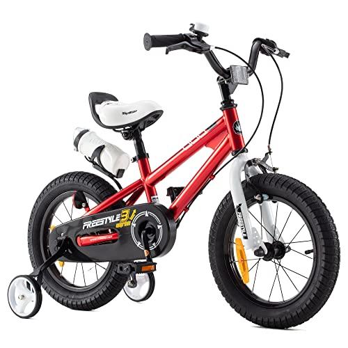 RoyalBaby Bicicletas Infantiles niña niño Freestyle BMX Ruedas auxiliares Bicicleta para niños 18 Pulgadas Rojo
