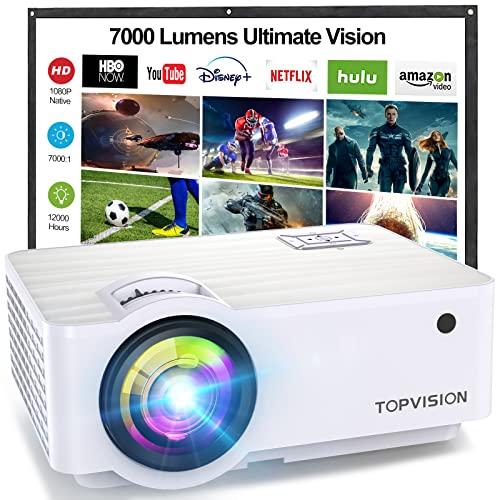 TOPVISION Proyector Cine en Casa de 7000 Lúmenes, 1080P Nativo Mini Proyector Portátil, Proyector LCD 1080P Full HD de 120000 Horas con Pantalla Máx de 300', Compatible con HDMI/VGA/USB/AV/SD