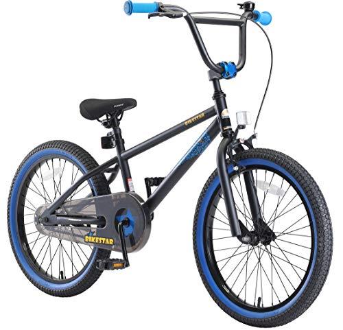 BIKESTAR Bicicleta Infantil para niños y niñas a Partir de 6 años | Bici 20 Pulgadas con Frenos | 20' Edición BMX Negro BLU