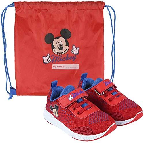 La Esencia Mickey Mouse Zapatillas Deportivas para Niños, Zapatillas Cierre Facil de Velcro, Incluye Bolsa de Deporte Infantil, Regalo para Niños, Tallas 21 a 27 (Rojo, 24)