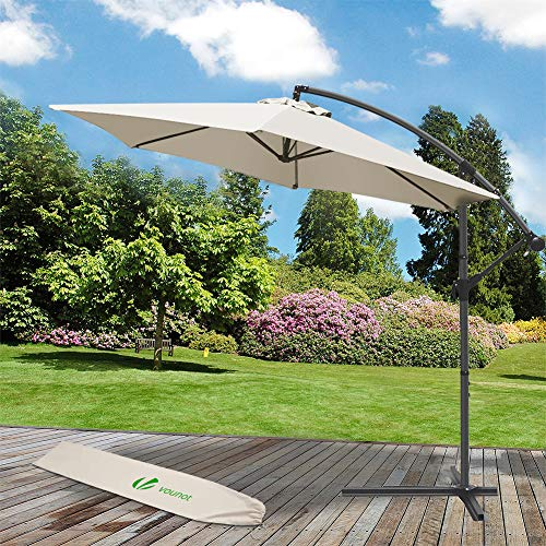VOUNOT Sombrilla Voladiza Parasol Excentrico Colgante con Manivela para Terraza Jardín Playa Patio Exterior, Protección Solar UV, Redondo, 3m, Beige
