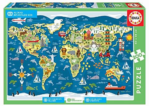 Detalles del puzzle infantil mapamundi de Educa